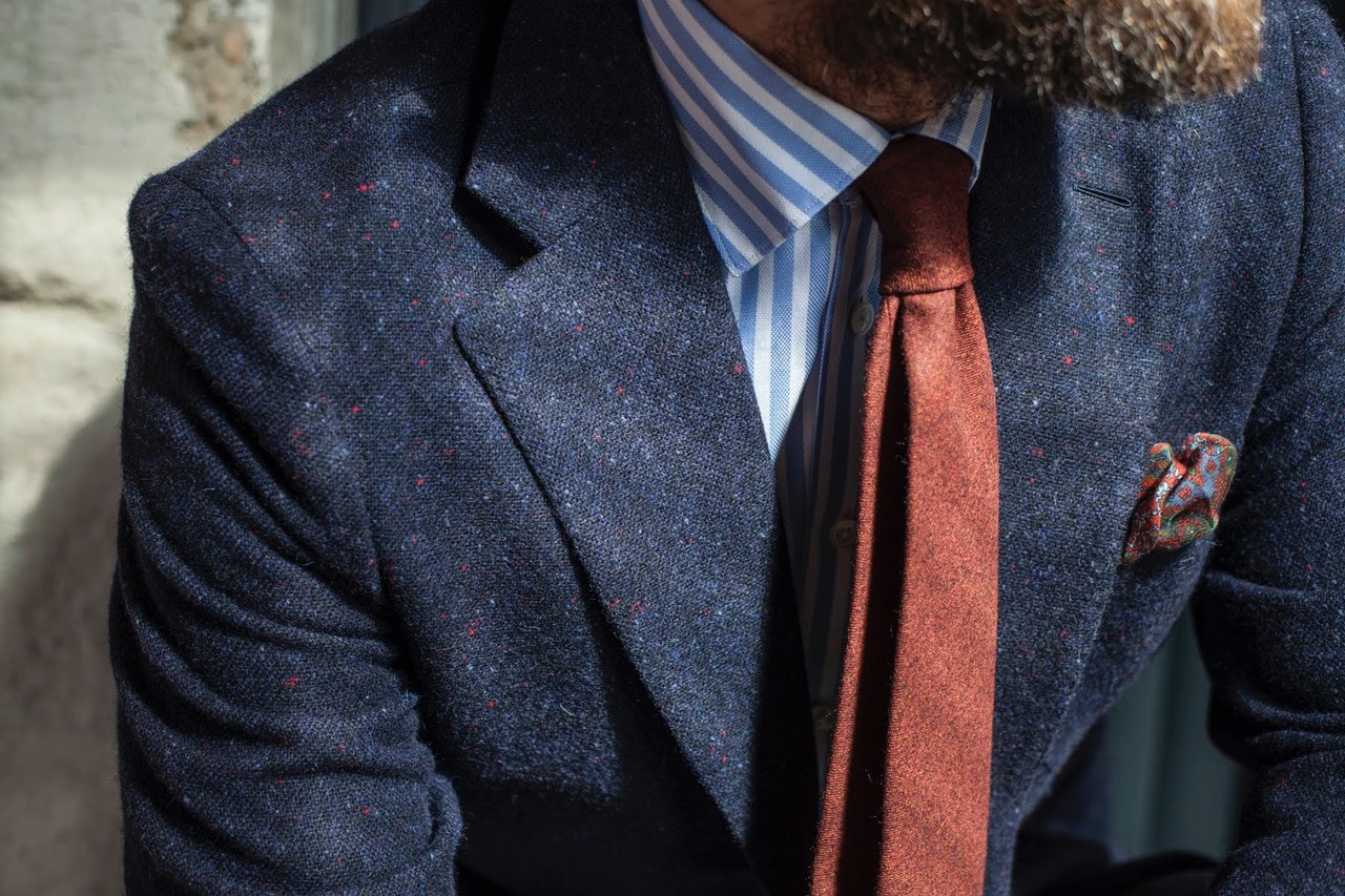 navy donegal tweed details