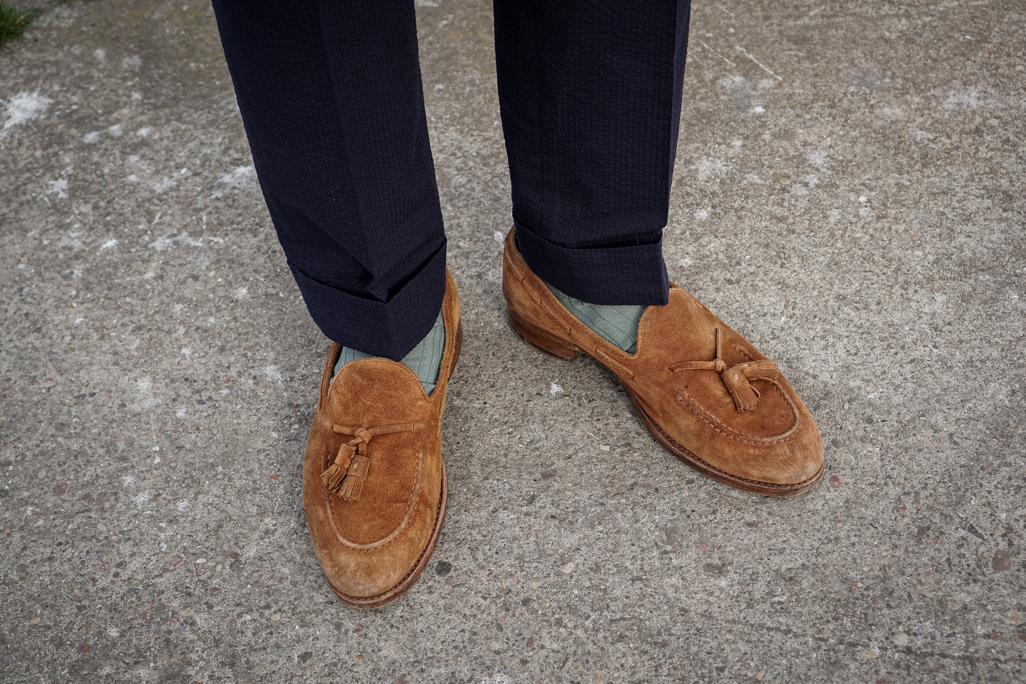 seersucker tassel loafers